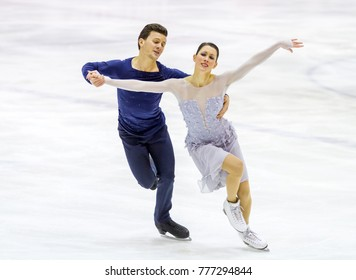 MILAN - DEC 16: Charlene Guignard and  Marco Fabbri during the Italian Championship 2018 in the Agorà Ice Palace, secondo classified on dance couple on December, 2017, in Milan