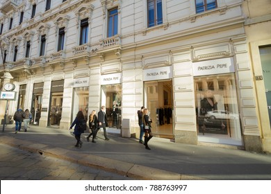 Milan, December 2017: Shop window of Patrizia Pepe in Shopping Street Via Alessandro Manzoni, in the fashion and design capital of the world, on December 2017 in Milan, Italy