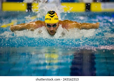 MILAN - DECEMBER  23:  Davide Cova  (Italy)  butterfly performing in  Swimming Meeting Brema Cup on December  23, 2014 in Milan, Italy.
