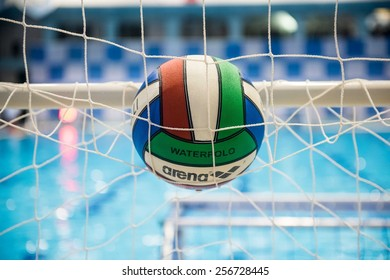 MILAN - DECEMBER  23: S. water polo balls on swimming pool on the net in  Swimming Meeting Brema Cup on December  23, 2014 in Milan, Italy.
