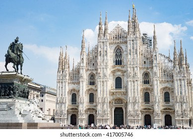 Milan Duomo cathedral church center main square with statue knight