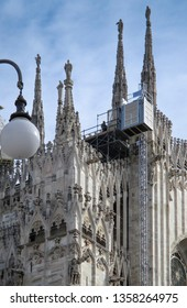 Milan, Duomo, the cathedral of the city during repairing work