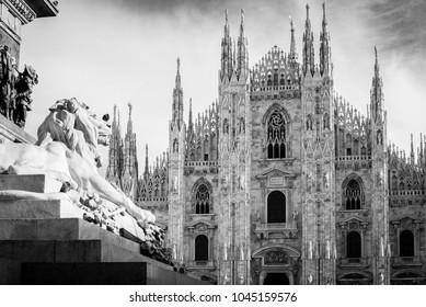 Milan Duomo detail - black and white image