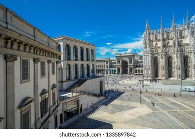 Milan Duomo square with a view of the museum of the twentieth century