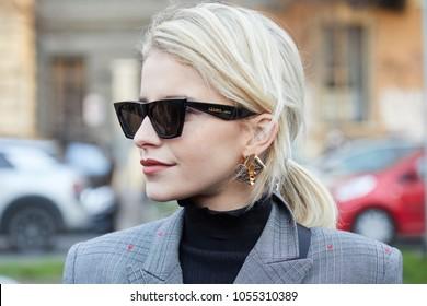 MILAN - FEBRUARY 21: Caroline Daur before Alberta Ferretti fashion show, Milan Fashion Week street style on February 21, 2018 in Milan.