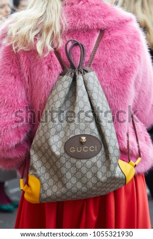 c3178d0a741 MILAN - FEBRUARY 21  Woman with Gucci backpack and pink fur jacket before  fashion Albino Teodoro show, Milan Fashion Week street style on February  21, ...