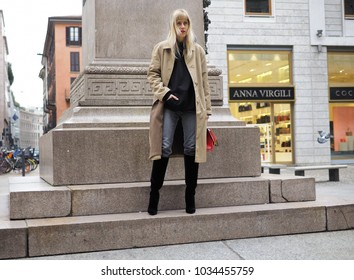 MILAN - FEBRUARY 25, 2018: LINDA TOL  posing for photograpers in SAN FEDELE square before MSGM fashion show, during Milan Fashion Week Woman fall/winter 2018/19 in Milan, Italy.