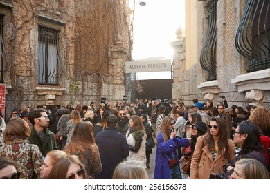 MILAN - FEBRUARY 25: People waiting before Alberta Ferretti show during Milan Fashion Week Day 1, Fall/Winter 2015/2016 street style day 1, on February 25, 2015 in Milan.