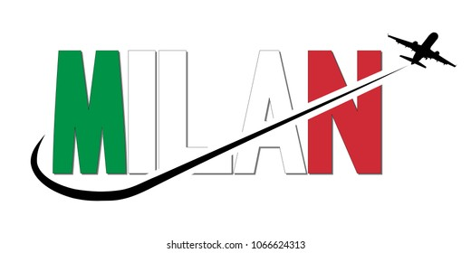 Milan flag text with plane silhouette and swoosh illustration