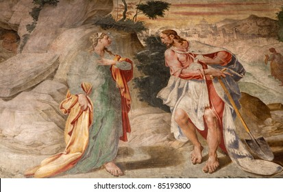 Milan - fresco from church Santa Maria delle Grazie - apparition of Jesus to Mary of Magdalene