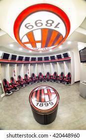 Milan, Iataly- April 27, 2016: dressing room of Milan AC Meazza stadium in Milan.In Meazza stadium,also known as San Siro stadium, play two soccer teams: Milan AC and Inter.