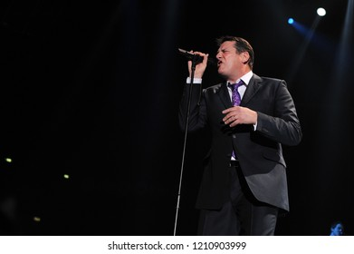 Milan  Italy  01 March 2010 : Live concert of Spandau Ballet at the Mediolanum Forum of Assago:  The singer of the Spandau Ballet ,Tony Hadley, during the concert