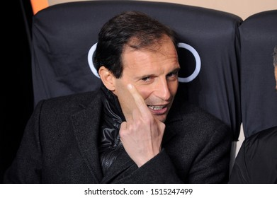"Milan  Italy, 02 March 2013,"" G.MEAZZA SAN SIRO "" Stadium, Serious Football Championship A 2012/2013, AC Milan - SS Lazio : The Milan coach Massimiliano Allegri before the match"