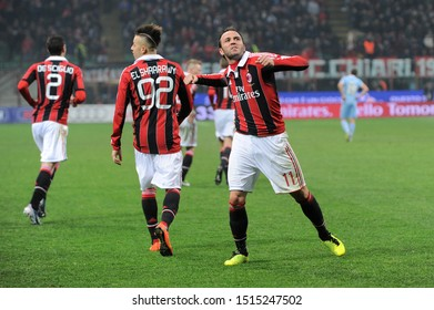 "Milan  Italy, 02 March 2013,"" G.MEAZZA SAN SIRO "" Stadium, Serious Football Championship A 2012/2013, AC Milan - SS Lazio : Giampaolo Pazzini celebrates after the goal"