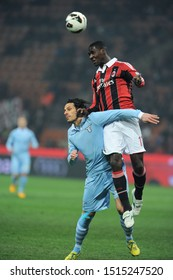 "Milan  Italy, 02 March 2013,"" G.MEAZZA SAN SIRO "" Stadium, Serious Football Championship A 2012/2013, AC Milan - SS Lazio : Sergio Floccari and Cristian Zapata in action during the match"