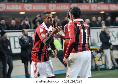 "Milan  Italy, 02 March 2013,"" G.MEAZZA SAN SIRO "" Stadium, Serious Football Championship A 2012/2013, AC Milan - SS Lazio : Giampaolo Pazzini and Kevin Prince Boateng celebrates after the goal"