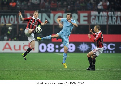 "Milan  Italy, 02 March 2013,"" G.MEAZZA SAN SIRO "" Stadium, Serious Football Championship A 2012/2013, AC Milan - SS Lazio : Ignazio Abate and Senad Lulic during the match"