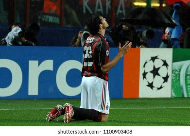 "Milan  Italy , 02 May 2007, ""SAN SIRO "" Stadium,  UEFA Champions League 2006/2007, AC Milan - FC Manchester United: Kaka celebrates after the goal"