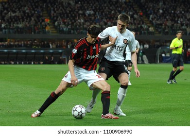 """Milan  Italy , 02 May 2007, """"SAN SIRO """" Stadium,  UEFA Champions League 2006/2007, AC Milan - FC Manchester United: Kaka and Michael Carrick in action during the match"""