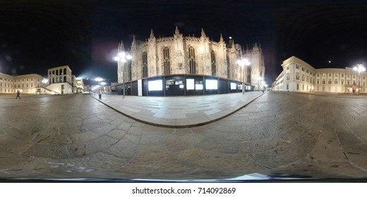 Milan, Italy - 02/17/2017: 360 degrees view of Piazza del Duomo at night, in the city of Milan