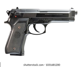 Milan, Italy - 02/23/2018: close up on a Beretta semi automatic handgun, resting on white background. Clipping path is available