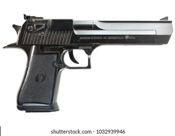 Milan, Italy - 02/23/2018: close up on a Desert Eagle gun resting on white background, clipping path is present.