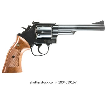 Milan, Italy - 02/23/2018: close up on a Magnum Smith & Wesson revolver, resting on a white background. Clipping path is available