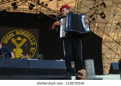 """Milan Italy, 02th 03th September 2006, Music Festival  live concerts """"Rock in Idro"""" at the Idroscalo of Milan :The accordionist of the group Gogol Bordello, Yuri Lemeshev, during the concert"""