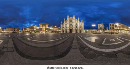 Milan, Italy - 03 mart 2013.  Full 360 degrees panorama in equirectangular spherical projection on the square near the Duomo in Milan, VR content