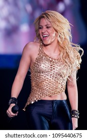 Milan Italy  ,03 May 2011 , Live concert of Shakira , the sun comes out world tour, at the Mediolanum Forum Assago: The singer Shakira during the concert