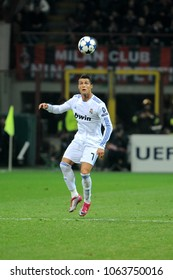 "Milan, Italy , 03 NOVEMBER 2010, ""San Siro"" Stadium,  UEFA Champions League 2010/2011, AC Milan - Real Madrid CF: Cristiano Ronaldo in action during the match"