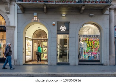 """73a41684f65 Milan, Italy 04.20.2019 the entrance view of the """"Philipp Plein""""store"""