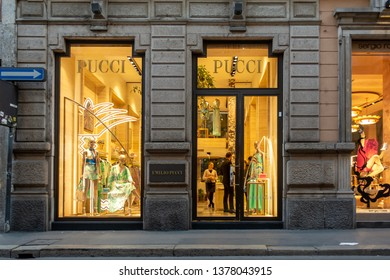 """Milan, Italy 04.20.2019 the entrance view of the """"Pucci""""store"""