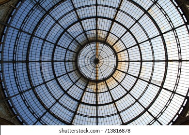 Milan, Italy - 05.18.2017: the glass dome cupola of Galleria Vittorio Emanuele II.