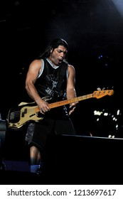 "Milan  Italy , 06 July 2011 , Live concert of ""The Big 4"" at the ""Arena Concerti Fiera Milano"" : The bassist Robert Trujillo of the Metallica band, during the concert"