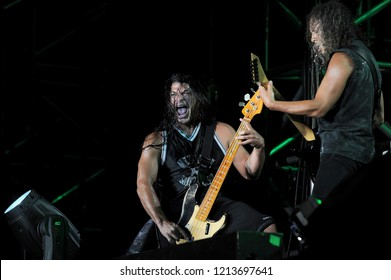 "Milan  Italy , 06 July 2011 , Live concert of ""The Big 4"" at the ""Arena Concerti Fiera Milano"" : The bassist Robert Trujillo and the guitarist Kirk Hammett of the Metallica band, during the concert"