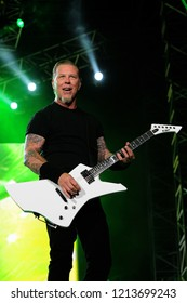 "Milan  Italy , 06 July 2011 , Live concert of ""The Big 4"" at the ""Arena Concerti Fiera Milano"" : The guitarist and singer  of the Metallica band, James Hetfield, during the concert"