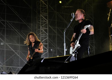 "Milan  Italy , 06 July 2011 , Live concert of ""The Big 4"" at the ""Arena Concerti Fiera Milano"" : The guitarists  of the Metallica band, James Hetfield and Kirk Hammett, during the concert"