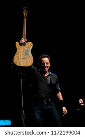 Milan Italy, 07 June 2012,  live concert of Bruce Springsteen & The E-Street Band at the San Siro Stadium: The singer Bruce Springsteen during the concert
