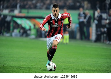 "Milan  Italy  07 October 2012, ""G.MEAZZA SAN SIRO "" Stadium, Campionato di Calcio Seria A 2012/2013, AC Milan - FC inter: Stephan El Shaarawy in action during the match"