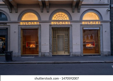Milan, Italy 07.01.2019 Via Montenapoleone morning scene with the most expensive fashion designer stores of the world. Bvlgari store front view