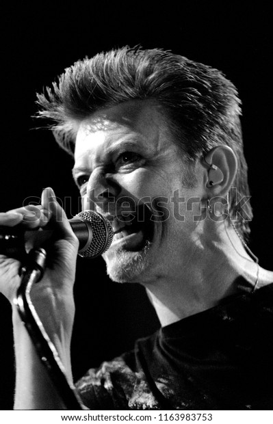 Milan Italy, 08 February 1996,  live concert of David Bowie at the Palatrussardi : The singer David Bowie during the concert