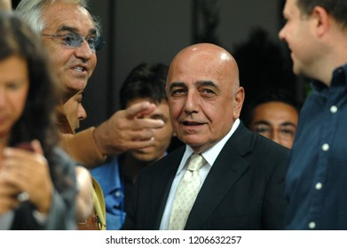 """Milan Italy 08 September 2007, """"G.Meazza""""Stadium,Qualifying match for the 2008 European Cup, taly-France: Adriano Galliani vice president of AC.Milan and Flavio Briatore in the stands before the mat"""
