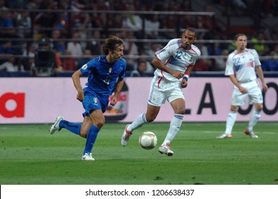 """Milan Italy 08 September 2007, """"G.Meazza"""" Stadium, Qualifying match for the 2008 European Cup, Italy-France: Andrea Pirlo in action during the match"""