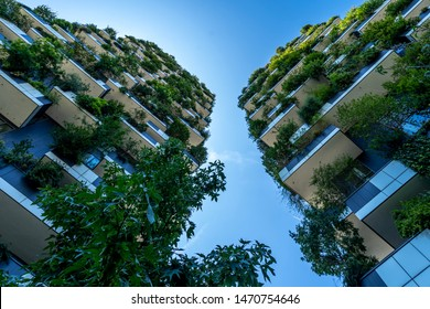 Milan, Italy 08.03.2019 The vertical forest (bosco verticale) Green house showing Italy's commitment in the sustainable economy
