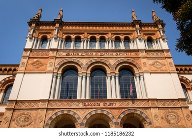 Milan, Italy - 09.20.2018 neo-romanesque facade of the natural history museun
