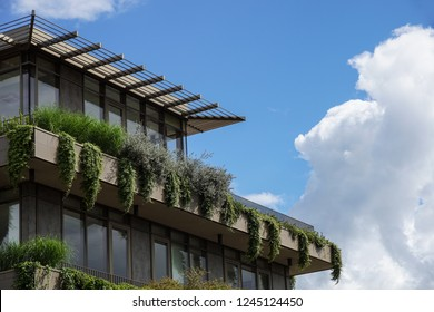 MILAN , ITALY 10 JUNE 2018 : modern building that houses numerous trees and plants in the balconies. green economy and environmental care in modern architecture
