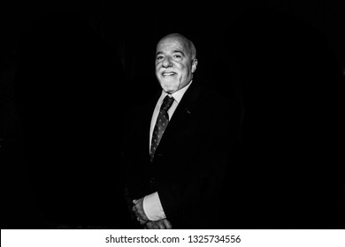 """MIlan ( Italy) , 10-23 -2013. Paulo Coelho, brasilian lyricist and novelist meets  their readers during an event """" Dialogue and peace""""."""
