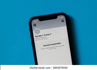 Milan, Italy - 11 January 2021: Donald J. Trump Twitter account on a smartphone. The President's account was permanently suspended on Twitter due to the risk of further incitement of violence.