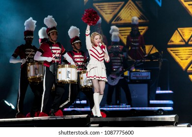 Milan Italy , 11 June 2012 , Live concert of Madonna at the Meazza San Siro Stadium : Madonna during the concert